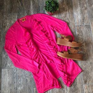 Tory Burch Pink Ruffle Open Cardigan